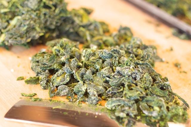 rough-chop the frozen kale
