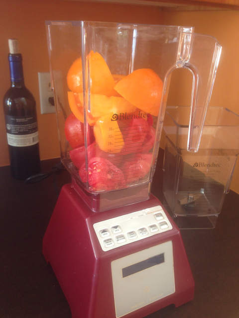 Pureed tomatoes in Blendtec blender
