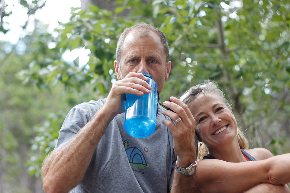 Well, no snacks or food, but we did bring water. I post this rare pic of Jennie looking like she might actually enjoy Dave. (no, I have no idea why I just wrote that in the third person.)