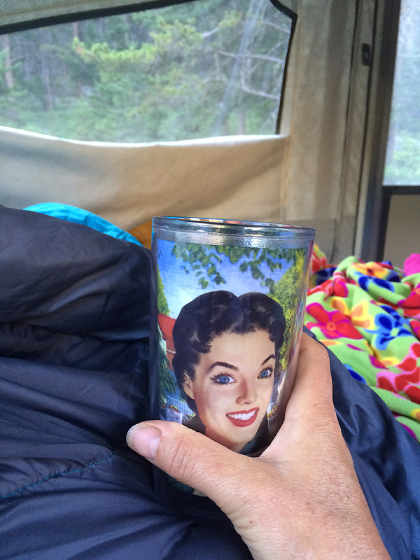 I snapped this pic of my first coffee in bed in the camper. Little did I know...