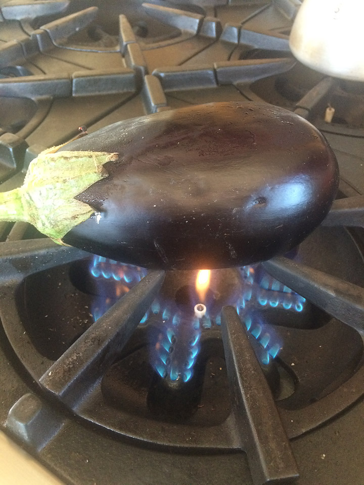 eggplant on gas stove