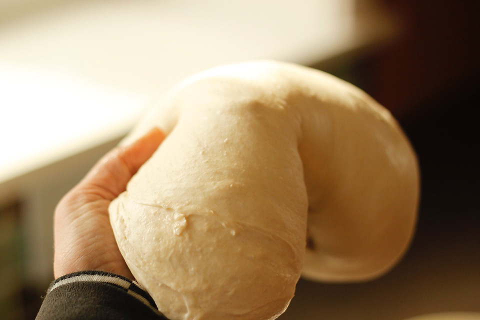 Stretch and fold bread dough